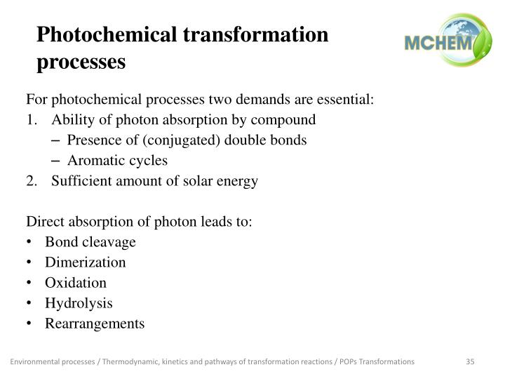 Photochemical transformation processes