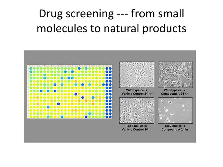 Drug screening --- from small molecules to natural products
