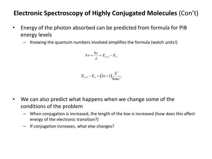 Electronic Spectroscopy of Highly Conjugated Molecules