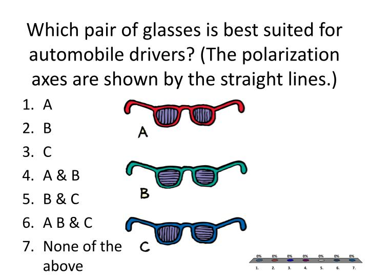 Which pair of glasses is best suited for automobile drivers? (The polarization axes are shown by the straight lines.)