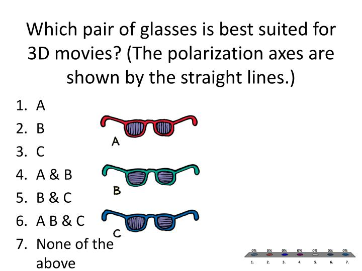 Which pair of glasses is best suited for 3D movies? (The polarization axes are shown by the straight lines.)