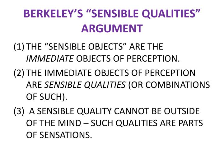 "BERKELEY'S ""SENSIBLE QUALITIES"""