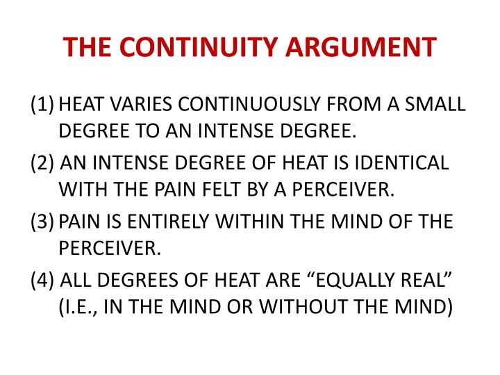 THE CONTINUITY ARGUMENT
