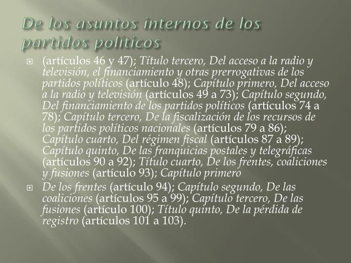 De los asuntos internos de los partidos políticos