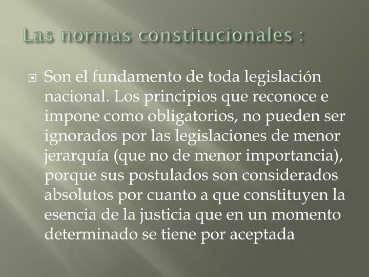Las normas constitucionales