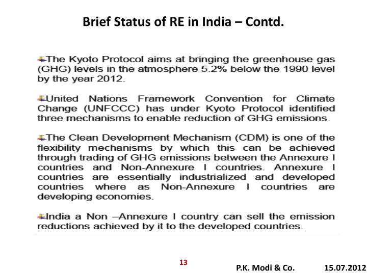 Brief Status of RE in India – Contd.