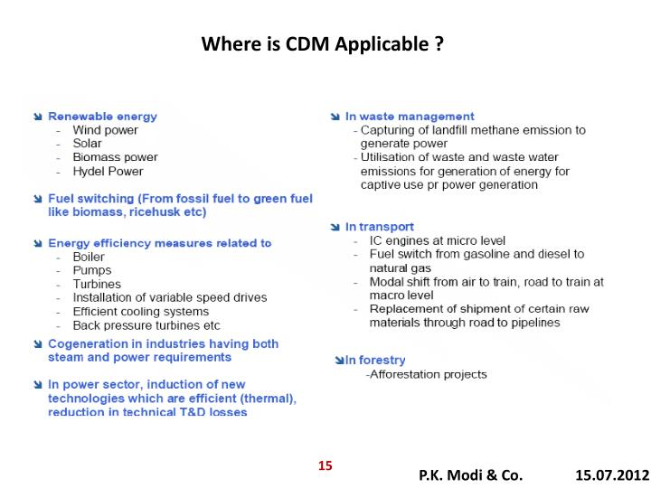 Where is CDM Applicable ?