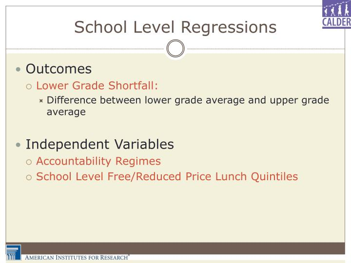 School Level Regressions