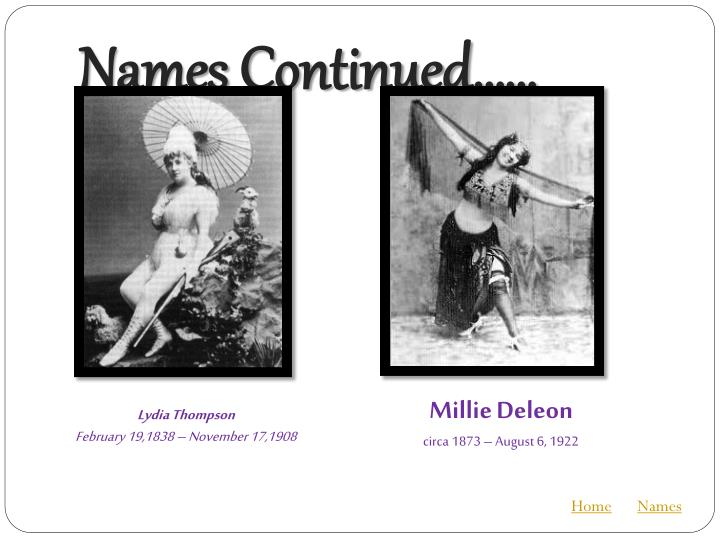 Names Continued……