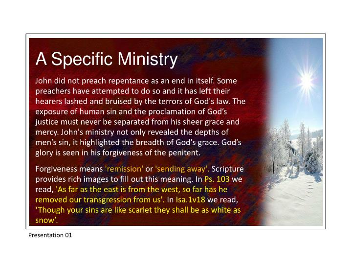 A Specific Ministry