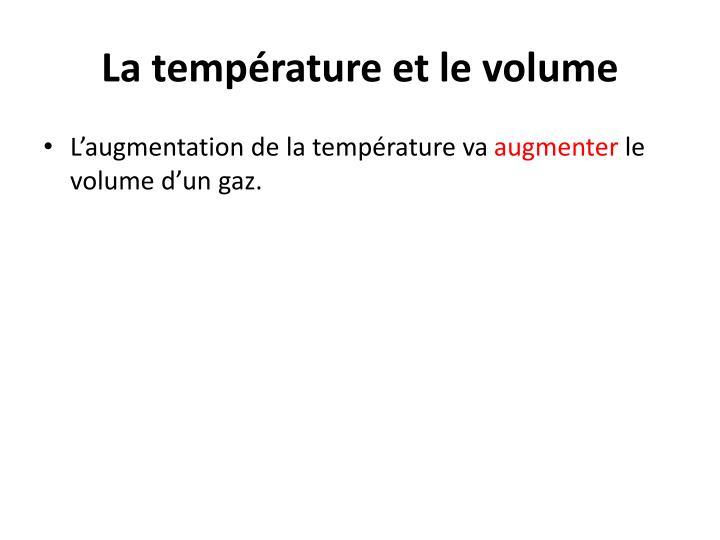 La température et le volume