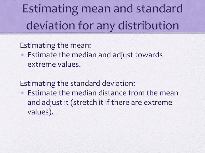 Estimating mean and standard deviation for any distribution