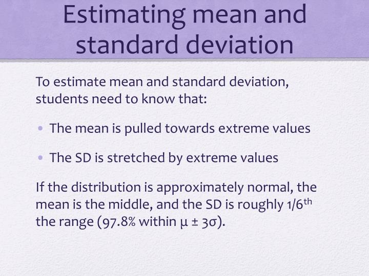 Estimating mean and standard deviation
