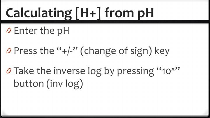 Calculating [H+] from pH