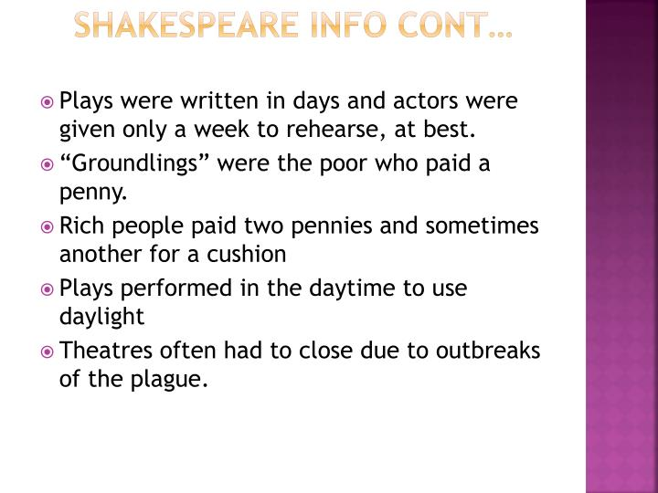 Shakespeare info cont
