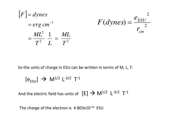 So the units of charge in ESU can be written in terms of M, L, T: