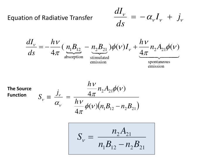 Equation of Radiative Transfer
