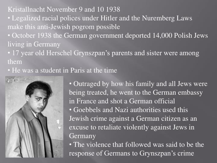 Kristallnacht November 9 and 10 1938