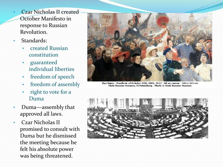 october manifesto Below you will see the main points of the october manifesto each time you click the arrow, information will appear to show why the tsar agreed to do each of the things in the manifesto.