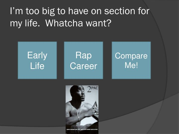 I'm too big to have on section for my life.