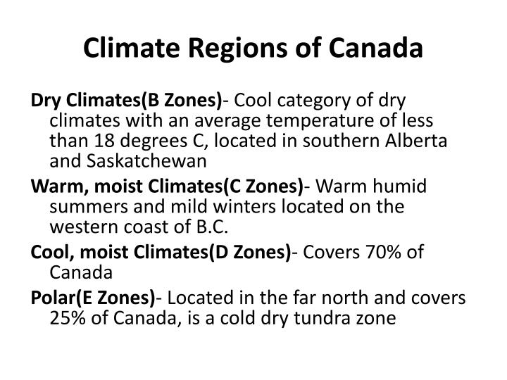 Climate Regions of Canada