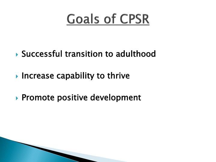 Goals of CPSR