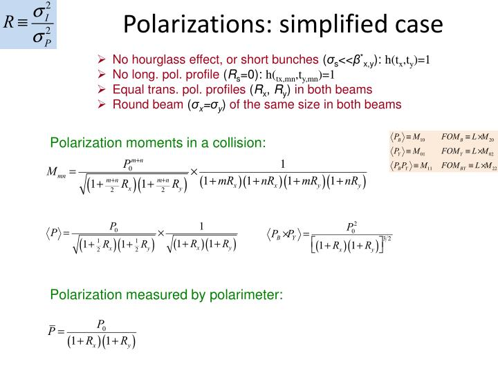 Polarizations: simplified case