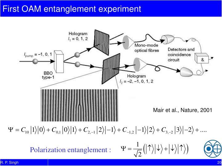 First OAM entanglement experiment