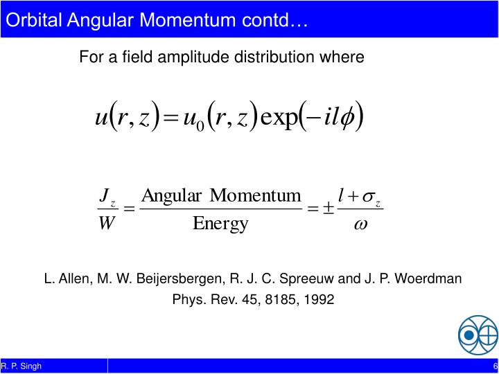 Orbital Angular Momentum contd…
