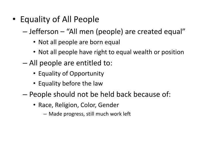 Equality of All People