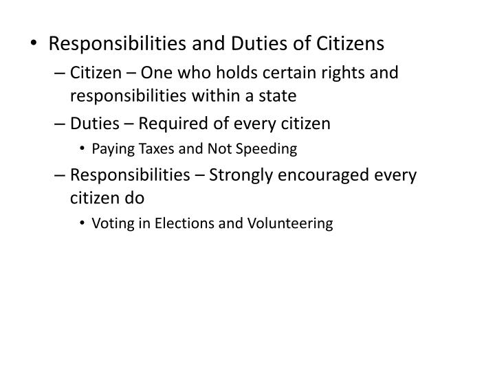 Responsibilities and Duties of Citizens