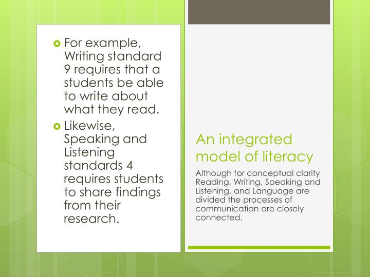 For example, Writing standard 9 requires that a students be able to write about what they read.