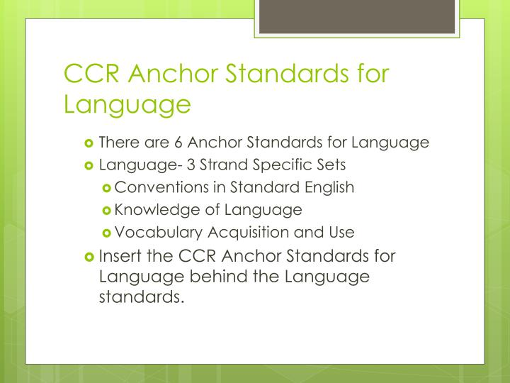 CCR Anchor Standards for