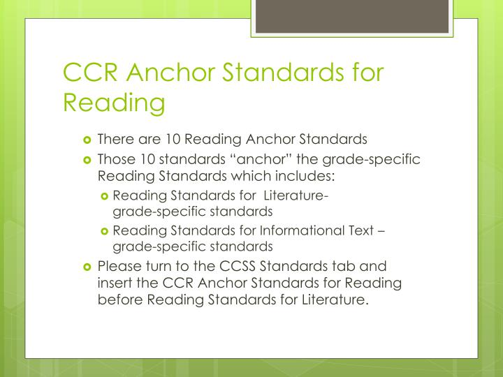 CCR Anchor Standards for Reading