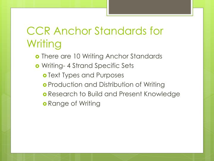 CCR Anchor Standards for Writing