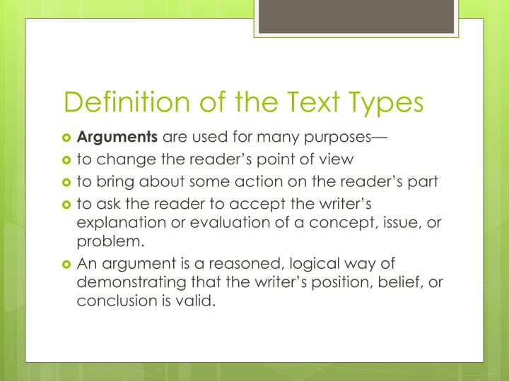 Definition of the Text Types