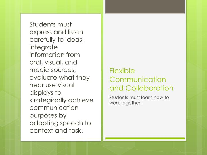 Students must express and listen carefully to ideas, integrate information from oral, visual, and media sources, evaluate what they hear use visual displays to strategically achieve communication purposes by adapting speech to context and task.