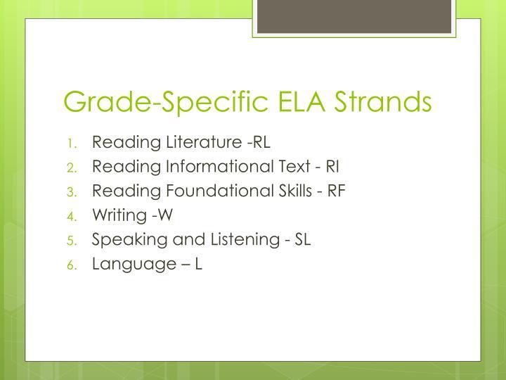 Grade-Specific ELA Strands