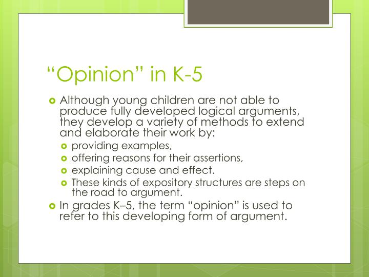 """""""Opinion"""" in K-5"""