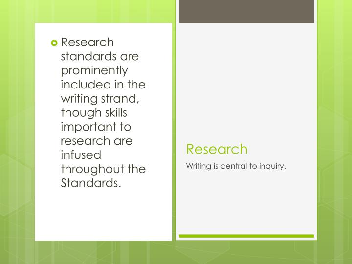 Research standards are prominently included in the writing strand, though skills important to research are infused throughout the Standards.