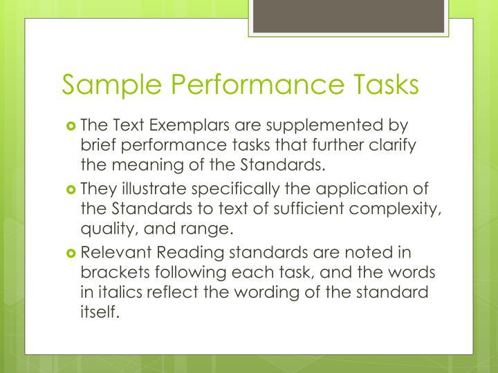 Sample Performance Tasks