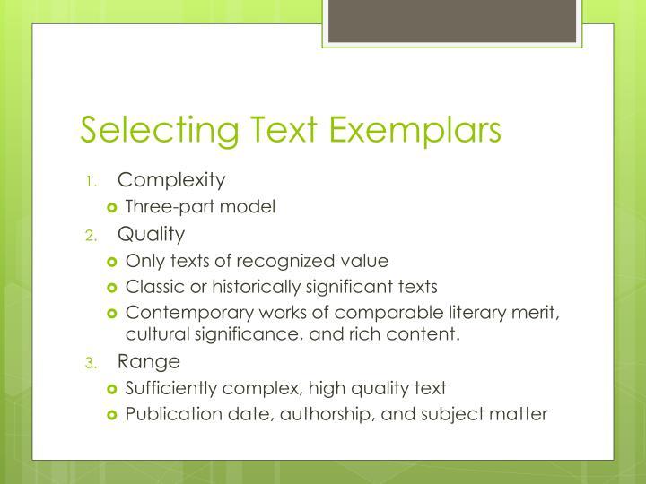Selecting Text Exemplars