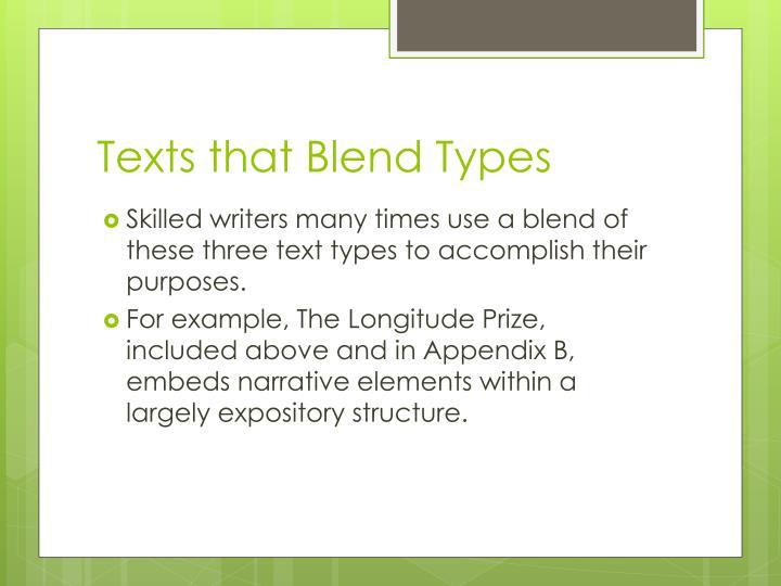 Texts that Blend Types