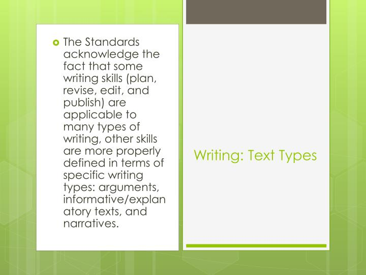 The Standards acknowledge the fact that some writing skills (plan, revise, edit, and publish) are applicable to many types of writing, other skills are more properly defined in terms of specific writing types: arguments, informative/explanatory texts, and narratives.