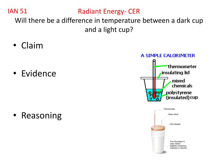 Radiant energy cer will there be a difference in temperature between a dark cup and a light cup