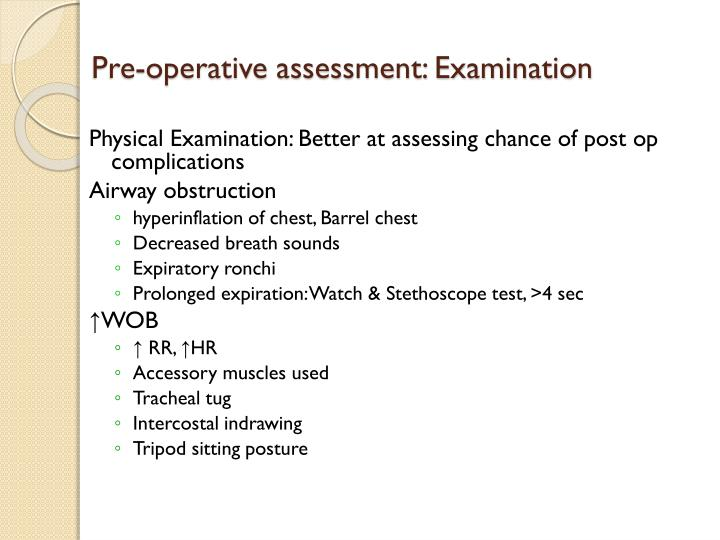 Pre-operative assessment: Examination