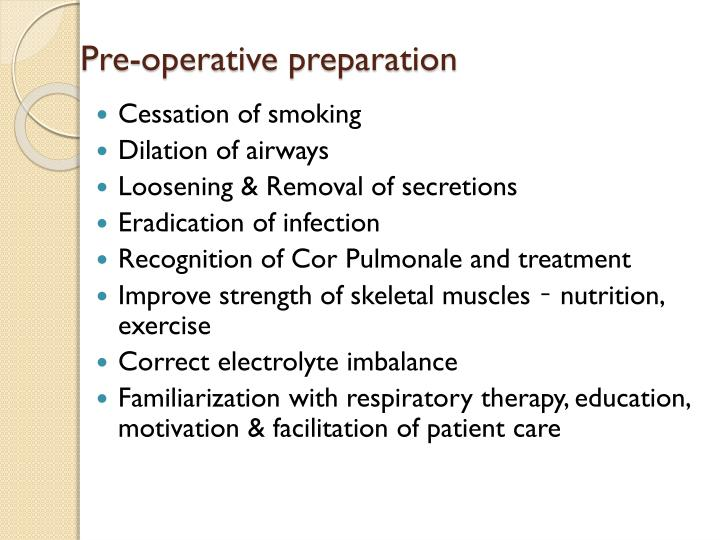 Pre-operative preparation