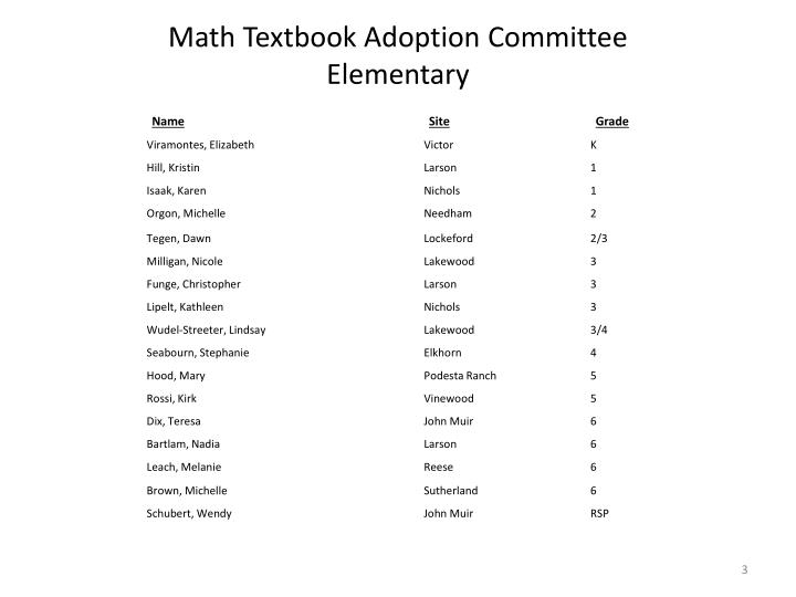 Math textbook adoption committee elementary
