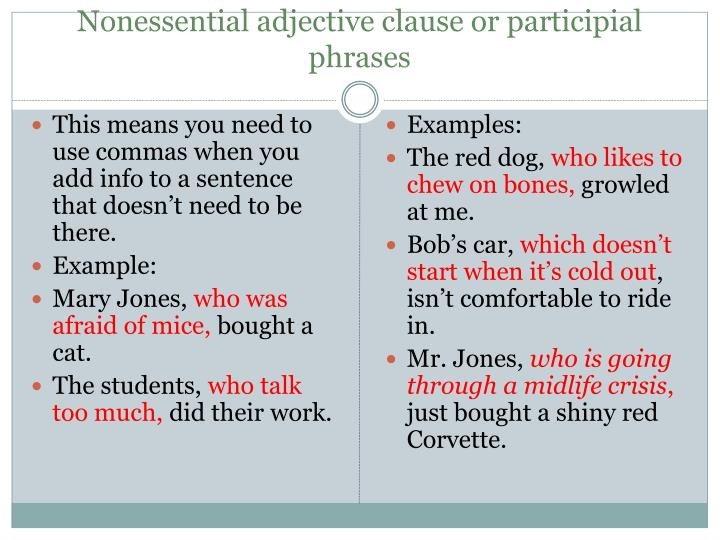 Nonessential adjective clause or participial phrases