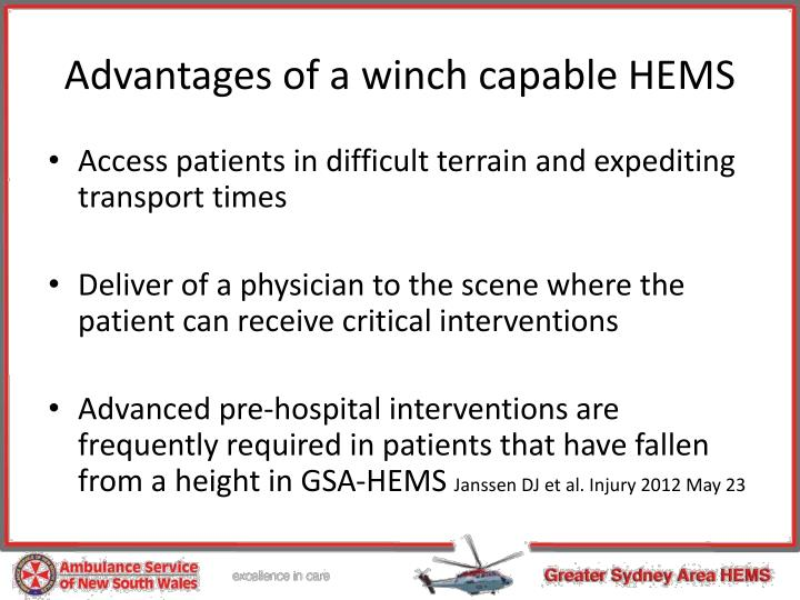 Advantages of a winch capable HEMS